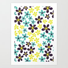 Yellow and Blue Flower Art Print