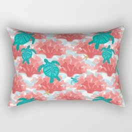 Sea Turtles in The Coral - Ocean Beach Marine Rectangular Pillow
