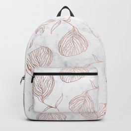 Modern girly rose gold hand drawn floral white marble pattern Backpack