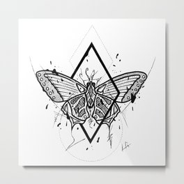 Butterfly Handmade Drawing, Made in pencil and ink, Tattoo Sketch, Tattoo Flash, Blackwork Metal Print