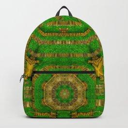 wonderful mandala of green and golden love Backpack