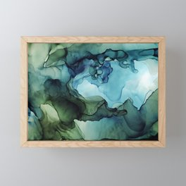 Land and Water Abstract Ink Painting Blues and Greens Framed Mini Art Print