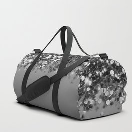 Black & Gunmetal Gray Silver Glitter Ombre Duffle Bag