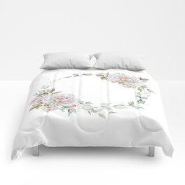 Watercolor White Rose Wreath Comforters