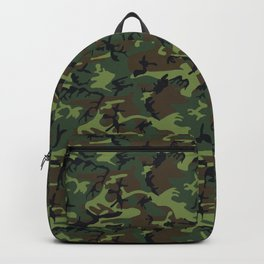 Green and Brown Camouflage Pattern Backpack