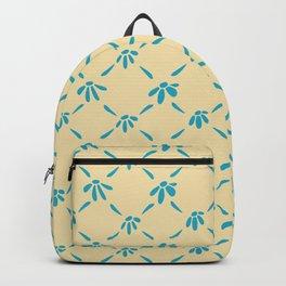 Floral Geometric Pattern Hawaiian Ocean and Sand Backpack