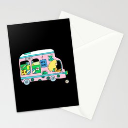 moving truck campervan blonde girl Stationery Cards