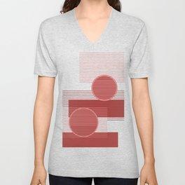 Geometric Minimal - Terracotta Unisex V-Neck