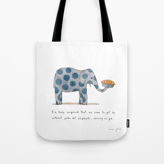 polka dot elephants serving us pie Tote Bag