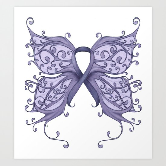 Periwinkle Cancer Ribbon with Butterfly Wings Art Print