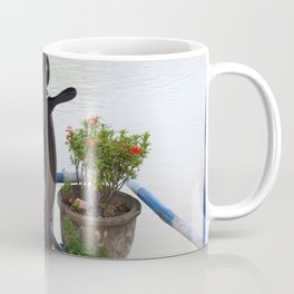 Mekong River Ship Detail ship's wheel potted plant Coffee Mug