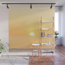 Peachy sunrise seascape Wall Mural