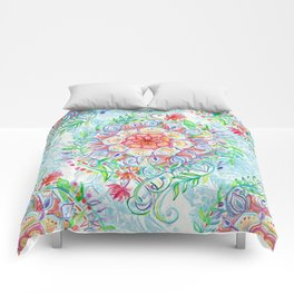 Messy Boho Floral in Rainbow Hues Comforters