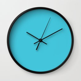 Bright Turquoise Simple Solid Color All Over Print Wall Clock