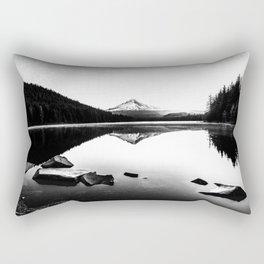 Fantastic Morning - Mount Hood Reflection Black and White Rectangular Pillow