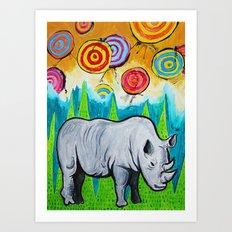 Rhino of the Land Art Print