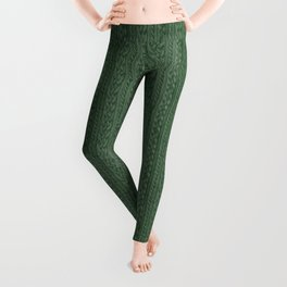 Pine Green Cable Knit Leggings