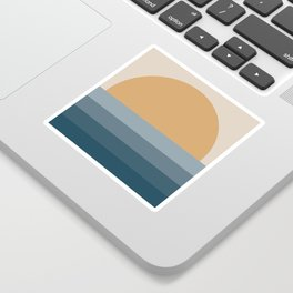 Minimal Retro Sunset / Sunrise - Ocean Blue Sticker