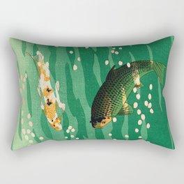 Vintage Japanese Woodblock Print Asian Art Koi Pond Fish Turquoise Green Water Cherry Blossom Rectangular Pillow