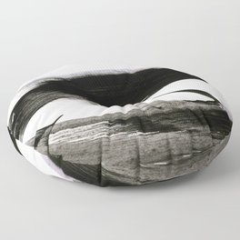 Brushstroke 9: a bold, minimal, black and white abstract piece Floor Pillow