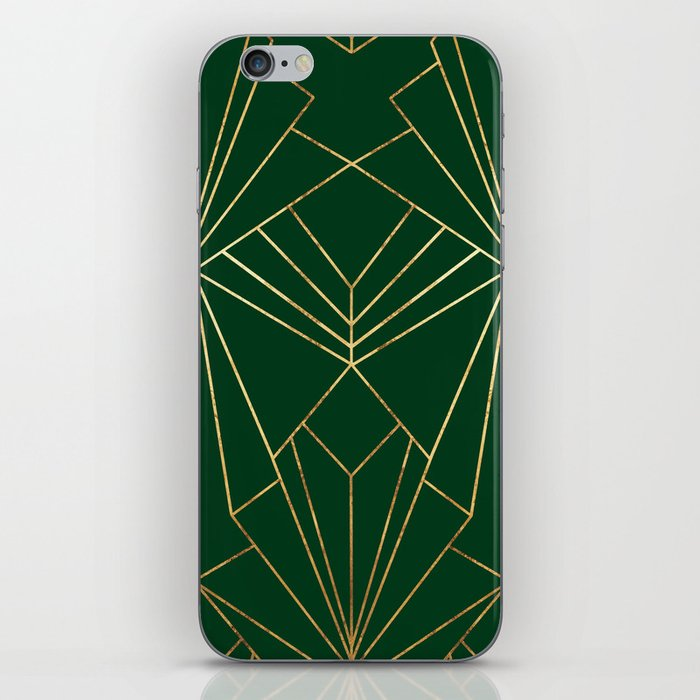 Art Deco in Gold & Green - Large Scale iPhone Skin