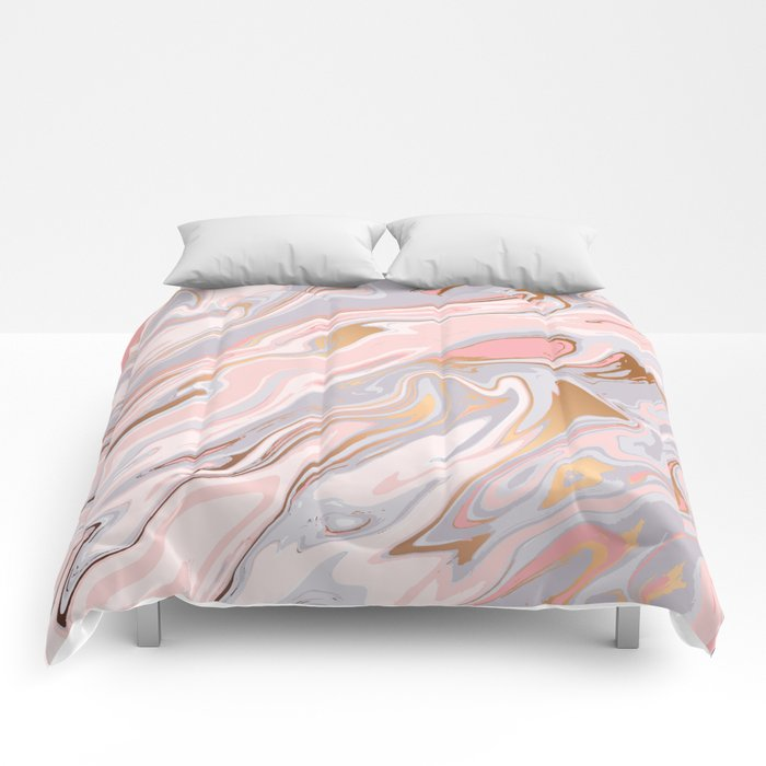 Marble and Gold 005 Comforters