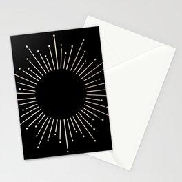 Sunburst White Gold Sands on Black Stationery Cards