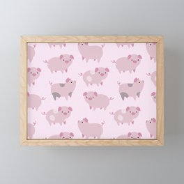 Cute Pink Piglets Pattern Framed Mini Art Print