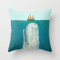 black swan Throw Pillows featuring The Whale  by Terry Fan