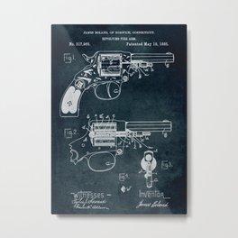 1885 - Revolving fire arm patent art Metal Print