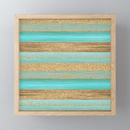 Turquoise Brown Faux Gold Glitter Stripes Pattern Framed Mini Art Print