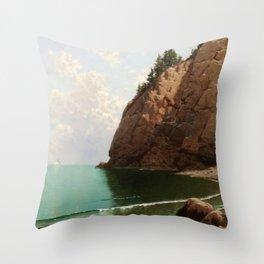 'The Secret Cove' landscape maritime painting Throw Pillow