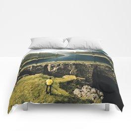 hiker at faroe Comforters