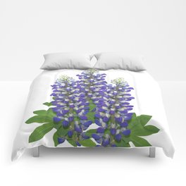 Blue and white lupine flowers Comforters