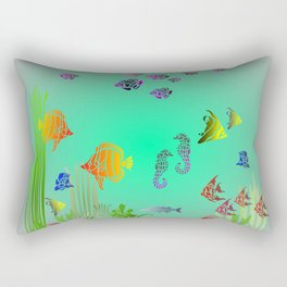 Colored Fish and Seahorse Rectangular Pillow