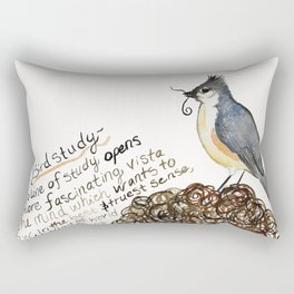 Tufted Titmouse Emma Bell Miles Quote watercolor Rectangular Pillow