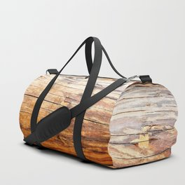 Wooden Log Wall Of A Vintage Cabin Duffle Bag