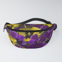 Purple And Yellow Flowers On A Dark Background #decor #buyart #society6 Fanny Pack