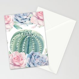 Cactus Rose Succulents Garden Stationery Cards