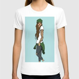 Hipster Chick- Blue T-shirt
