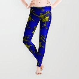 Cobalt Blue and Gold Fractal Leggings