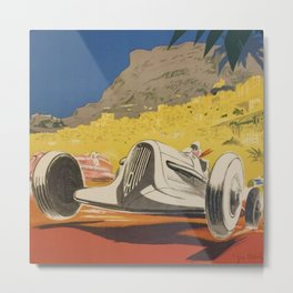 Vintage 1934 White Deco Monaco Grand Prix Car Advertisement Poster by Geo Ham Metal Print