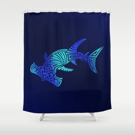 Ombre Blues Hammerhead Shower Curtain