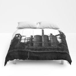 Bethlehem Steel Blast Furnaces in black and white 6 Comforters