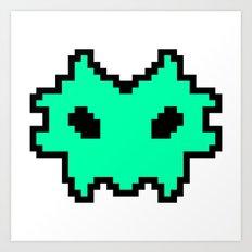 Pixel Invaders : Light Blue Art Print