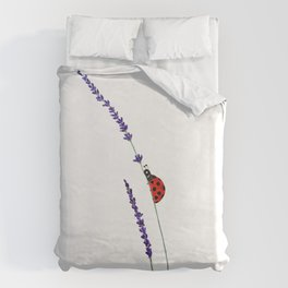 red ladybug and purple lavender Duvet Cover