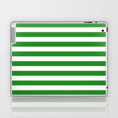 Horizontal Stripes (Forest Green/White) Laptop & iPad Skin