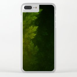 Beautiful Fractal Pines in the Misty Spring Night Clear iPhone Case