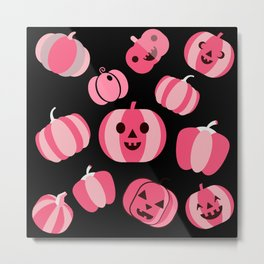 Pink Pumpkins Pattern Metal Print