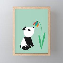 Sweet panda and flower Framed Mini Art Print